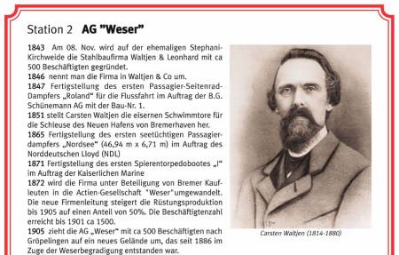 Oberer Teil der AG-Weser-Tafel