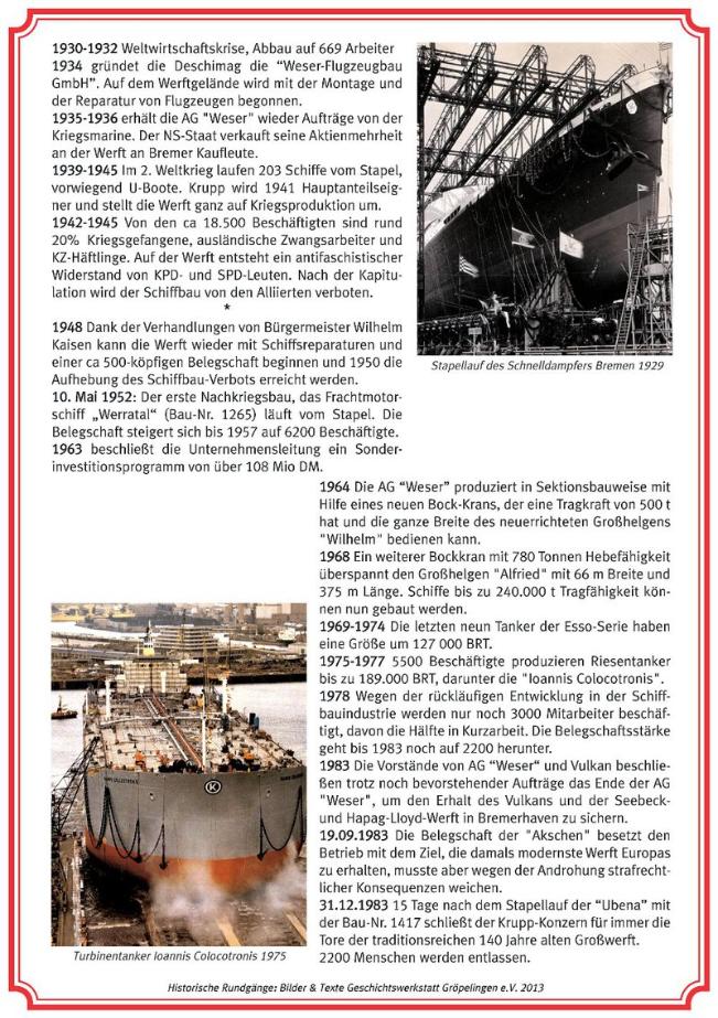 Historische Rundgänge: Station 2 AG-Weser, 2. Tafel